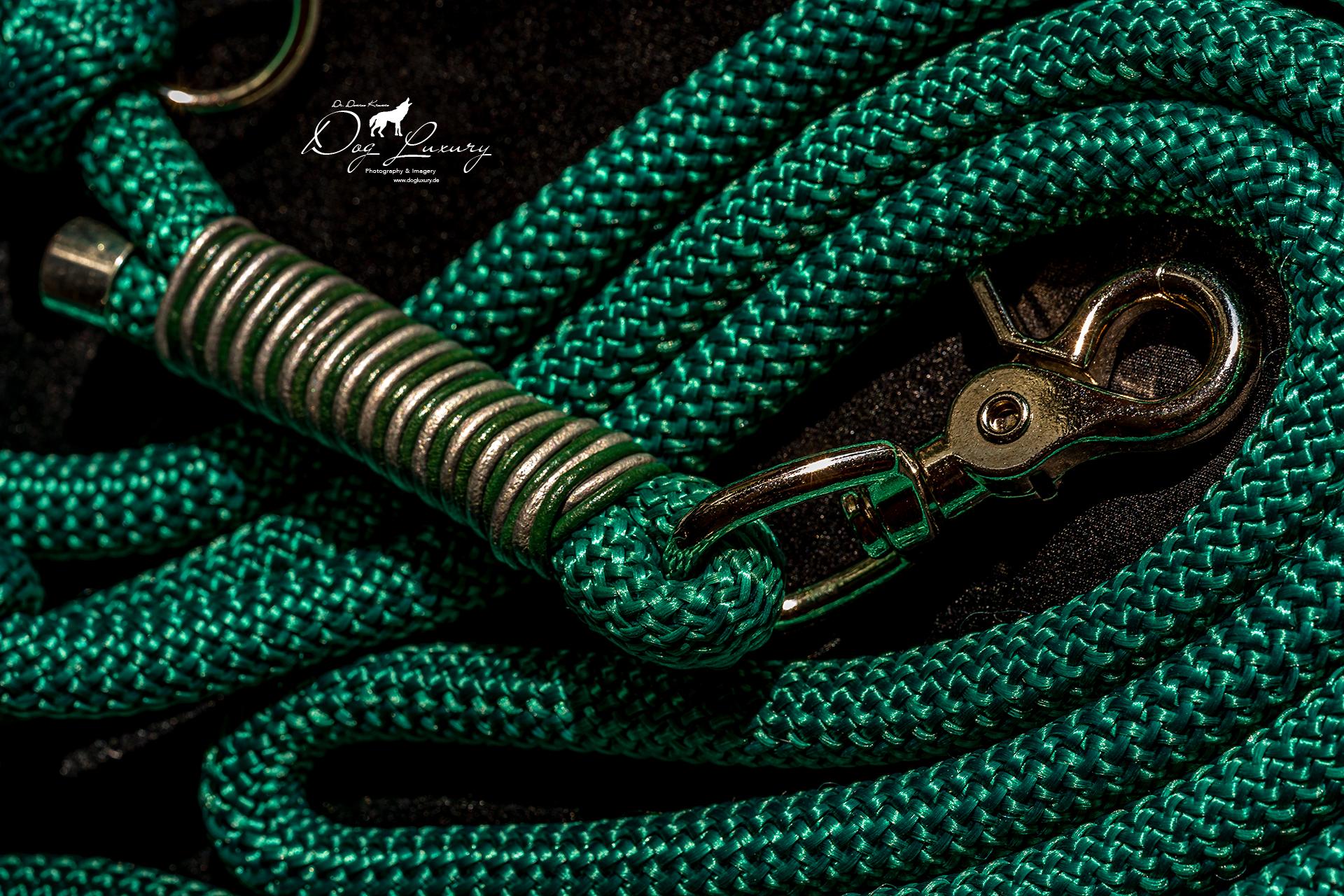 Luxus Hundeleine aus Bolaband mit 10 mm Durchmesser gefertigt und mit entsprechend farbigem Leder umtakelt